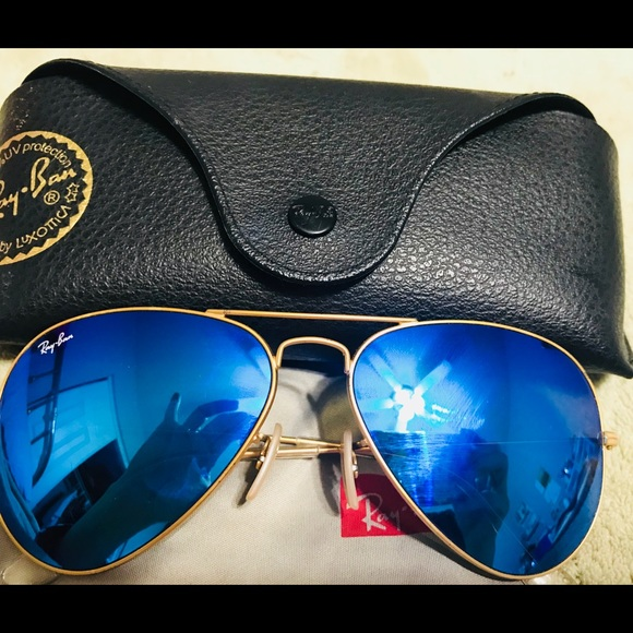 Ray Ban Other Rayban Aviator Sunglasses Mirror Blue Gold Frame Poshmark